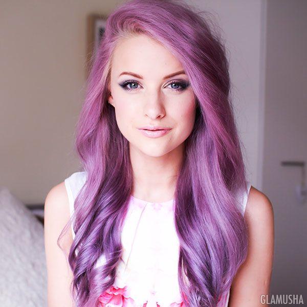 Цветные концы на светлых волосах