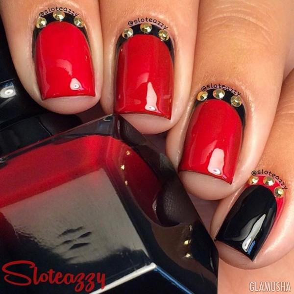 Черно красный дизайн ногтей