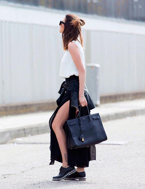 Как носить юбку с разрезом: 23 модные идеи