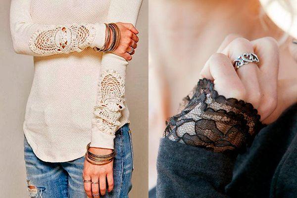 Как украсить рубашку кружевом своими руками фото