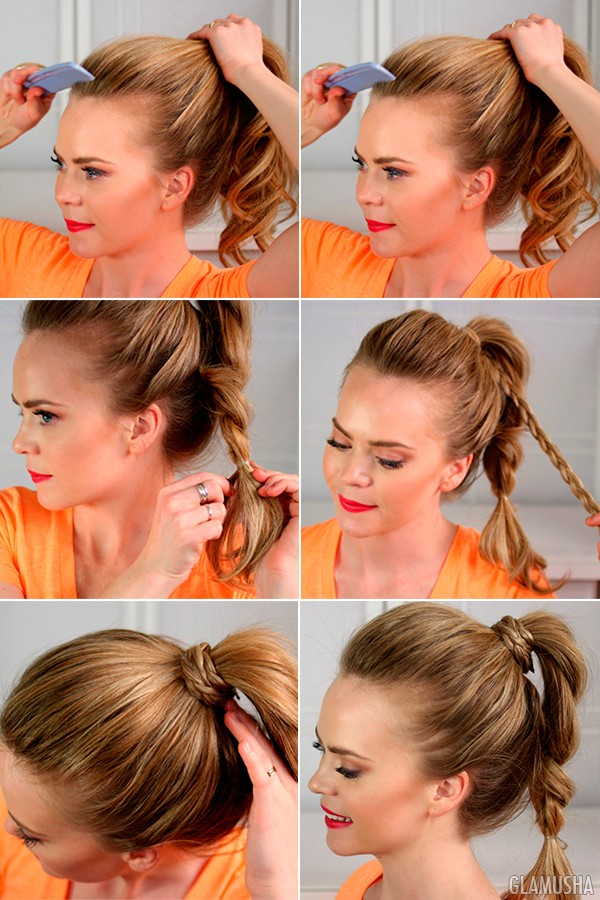прическа коса из хвоста