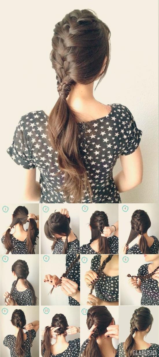 французская коса с хвостом