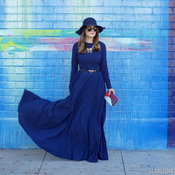 Платье в пол и шляпа