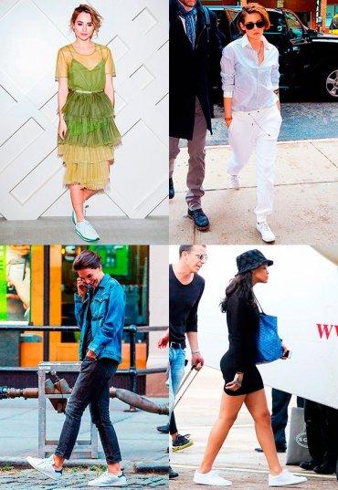 С чем знаменитости носят белые кроссовки
